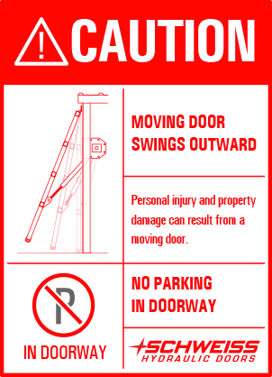 caution moving door swings outward