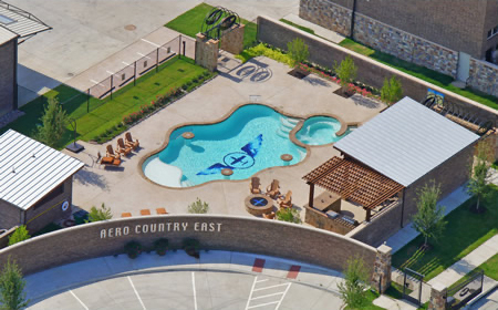 Aero Country East has pool for hangar home residents.